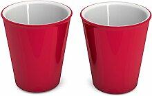 Ornamin Becher 300 ml rot, 2er Set | hochwertiger, stabiler Coffee to go Becher aus Kunststoff für zuhause und unterwegs| nachhaltiger Mehrwegbecher auch für Cocktail, Smootie und Heißgetränke | Ökobecher, Partybecher, Biobecher, Kaffeebecher