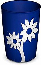 Ornamin Becher mit Anti-Rutsch Blume 220 ml blau/weiß | Farbenfroher Trinkbecher mit Antirutsch Blumendekor für festen Halt und sicheres Greifen | Trinkhilfe, Pflege-Becher, Kinderbecher