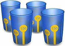 Ornamin Becher mit Anti-Rutsch Skala 220 ml blau-transparent / gelb (4er Set) | Praktischer Trinkbecher mit Antirutsch-Skala für festen Halt und sicheres Greifen | Trinkhilfe, Pflege-Becher, Kinderbecher