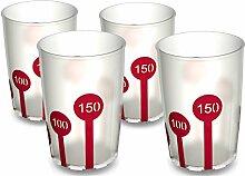 Ornamin Becher mit Anti-Rutsch Skala 220 ml natur / rot (4erSet) | Praktischer Trinkbecher mit Antirutsch-Skala für festen Halt und sicheres Greifen | Trinkhilfe, Pflege-Becher, Kinderbecher