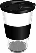 Ornamin Coffee to go Becher 400 ml klar mit auslaufsicherem Deckel und Manschette | hochwertiger, wiederverwendbarer Kunststoffbecher für unterwegs | Mehrwegbecher, Ökobecher, Kaffeebecher