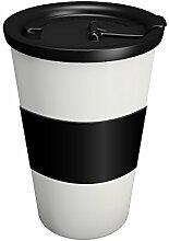 Ornamin Coffee to go Becher 400 ml weiß mit auslaufsicherem Deckel und Manschette | hochwertiger, wiederverwendbarer Kunststoffbecher für unterwegs | Mehrwegbecher, Ökobecher, Kaffeebecher
