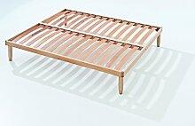 Orthopädische Holz Lattenrost mit 14 Leisten aus Buche und Holzrahmen H35cm 160X200 | Orange