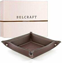 Orvieto Taschenleerer Leder, Handgearbeitet in klassischem italienischem Stil, Ordentlich Tablett, Geschenkschachtel inklusive Bordeauxrot (19x19 cm)