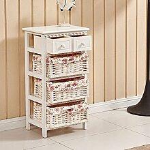ospi® Shabby Chic Holz Schrank Aufbewahrungsschrank mit 2Schubladen und 3Weidenkörbe weiß Farbe