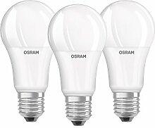 Osram LED Base Classic A, in Kolbenform mit E27- Sockel, Nicht Dimmbar, Ersetzt 100 Watt, Matt, Kaltweiß- 4000 Kelvin, 3er- Pack