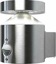 Osram LED Wand- Außenleuchte, Endura Style Cylinder Wall Sensor, Bewegungssensor, Tag- Nacht- Sensor, Stahlkörper, Metallic, 6 Watt, Warmweiß- 3000K