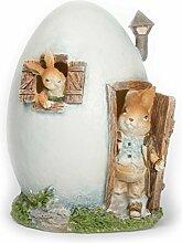 Osterdeko 2 Hasen im Osterei Haus für Garten und Wohnung - ca. 18cm