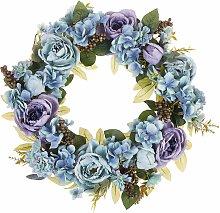 Osterdekoration Kranz Blau Blumenmotiv Holz rund