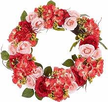 Osterdekoration Kranz Rot / Rosa Blumenmotiv Holz