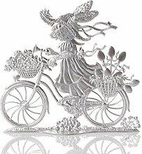 Osterdekoration Standfigur aus Zinn, Hase auf Fahrrad, blank