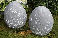 Osterei Hase / Hahn Dekoration Ostern Zement Grau Tischdekoration