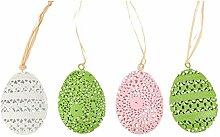 Osterei Sets Deko Ei Ostern Oster-Dekoration Metall mit Ornamenten 6x2cm (12)