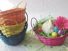 Osterkorb mit Griffen + Gras 20x15x8 cm Farbig