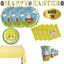 Ostern Dekoration Häschen Eier Pappteller Becher