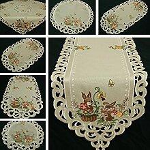 Ostern Tischband/Tischdecke Leinen-Optik Grau-Beige Häschen Stickerei - Größe wählbar (ca. 45 x 130 cm Oval)