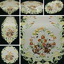 Ostern Tischband/Tischdecke Weiß mit gelb-orange