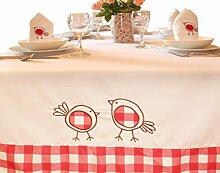 Ostern Tischdecke mit bestickt Robins, Polyester,
