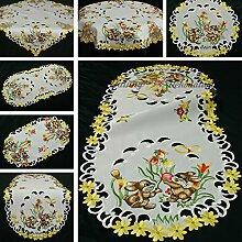 Ostern Tischläufer/Tischdecke Weiß mit gelben