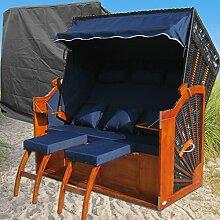 Ostsee Strandkorb XXXL blau - schwarz gestreift günstig kaufen # inkl. Schutzhülle # 160cm breit # 2 Bezüge ( Grundbezug + abnehm- und waschbarer Wechselbezug )