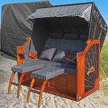 Ostsee XXL Strandkorb anthrazit günstig kaufen # wechselbare Bezüge # inkl. Schutzhülle