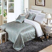 OSVINO Bettläufer Jacquard Vintage Luxuriös Wärmehaltung Dekorative Bett-Überwurf für Schlafzimmer Hotelzimmer, Türkis 210x 138cm für 150cm Be