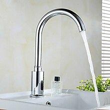 OSY Wasserhahn,Automatische Induktion Messing Chrom Bad Waschbecken Wasserhahn-Silber (4xAA/AC 110V)