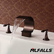 OSY Wasserhahn,Badezimmer Waschbecken oder Badewanne Wasserfall Wasserhahn Füller Hand Öl eingerieben Bronze Duscharmatur