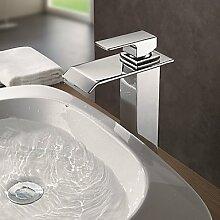 OSY Wasserhahn,Zeitgenössisch Becken Wasserfall with Messingventil Einhand Ein Loch for Chrom , Badewannenarmaturen / Armatur für die Küche /
