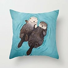 Otterly Romantic - Otters Holding Hands Cute Decorative Throw Pillows for Teens Accent Pillows for Sofa by LOOKTY