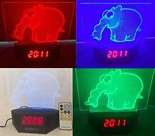 Ottifant 2D LED Licht/Lampe mit Uhr und
