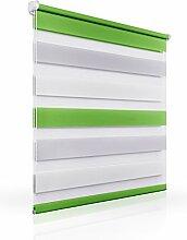 OUBO 55 x 150 cm Grün-Grau-Weiß Doppelrollo