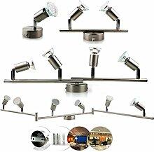 OUBO LED Deckenlampe GU10 Deckenspots Deckenleuchte Spot Strahler Wandlampe Halogen-Deckenschiene Eisen gebürstet Nickel matt Spotlights 1/2/4/6-flammig (6-flammig)
