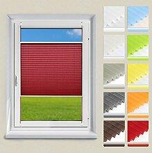 OUBO Plissee Jalousie Klemmfix ohne Bohren 85 x 120 cm (BxH) Dunkelrot Sichtschutz Klemmträgern für Fenster & Tür