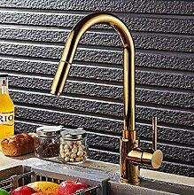 Oudan Ziehen Sie Luxus Küchenarmatur Gold Messing