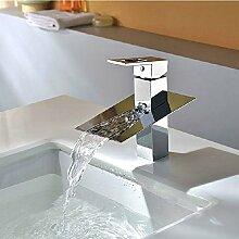 Ouecc Shang Auslauf Chrom Bad Armatur Deck Montiert Tippen Sie Auf Mischpult Wasserfall Waschbecken Wasserhahn