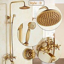 Ouecc Shang Badezimmer 3 Dusche Wasserhahn Dusche Antike Messing Dusche Set 8 Zoll Regen Duschkopf Badewanne Armatur Wasserhahn, D