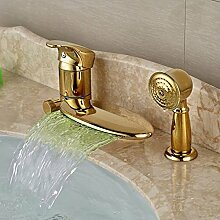 Ouecc Shang Deck Montiert Wasserfall Goldenen Wasserhahn Bad Badewanne Armatur Umleitungsventil 3 Pcs, Led-Tippen Sie Auf