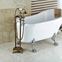 Ouecc Shang Floor Mount Dual Griffe Badewanne Armatur Wasserhahn Messing Antik Bad Stehende Badewanne Mischbatterien, Multi