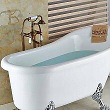 Ouecc Shang Keramik Style Messing Antik Bad Badewanne Armatur Am Boden Befestigte Tub Faucet Sprayer Mischbatterie Dusche
