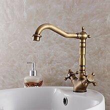 Ouecc Shang Klassische Antike Antike Badezimmer Wasserhahn Küche Armatur Waschtisch Armatur Mit Zwei Griff Mischbatterie Heißen Und Kalten Wasserhahn