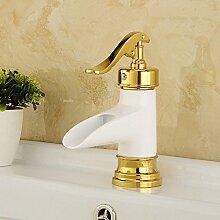 Ouecc Shang Klassische Golden Gegrillten Weißen Lack Badezimmer Waschbecken Heiß Kalt Wasserhahn Wasserfall Einloch Mischbatterie Küchenarmaturen Messing