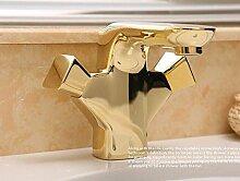 Ouecc Shang Luxus Wasserhähne Bad Armatur Voll Kupfer Becken Vergoldete Antike Wasserhahn Mit Doppelgriff Einloch Heiß Kalt Wasserhahn, Gold