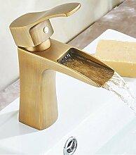 Ouecc Shang Messing Antik Waschtisch Armatur Bad Deck Montiert Wasserfall Wasserhahn Warmes Und Kaltes Mixer Höhe Bis Wasserhahn, Messing, Kurzes Tippen