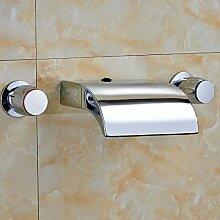 Ouecc Shang Moderne Verbreitete Chrom Heißes Und Kaltes Wasser In Den Zylinder Griffe Waschbecken Wasserhahn Armatur Wasserhahn Tippen