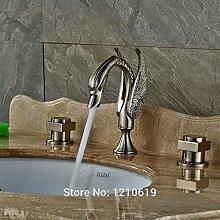 Ouecc Shang Neu Euro Style Waschbecken Wasserhahn Drei Bohrungen Nickel Gebürstet Swan Waschtisch Armatur Wasserhahn Tippen Sie Auf Deck Moun