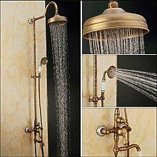 Ouecc Shang Neue Luxus Messing Antik Regendusche Armatur Badewanne Set Mixer Mixer Messing Bad & Dusche Badewanne Armatur Wasserhahn Einstellen