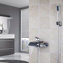 Ouecc Shang Neues Glas Für Wandmontage Neue Glas Wasserfall Wasserhahn Armatur Badewanne Waschbecken Mischbatterie, Chrom