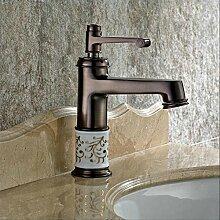Ouecc Shang Orb Bad Armatur Tippen Sie Auf Euro Vintage Style Waschbecken Wasserhahn Öl Eingerieben Bronze Rot Bad Armatur Mischbatterie Deck Montiert, Messing