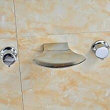 Ouecc Shang Wandmontage Chrom Bad Dual Griffe Tub Faucet Drei Löcher Waschbecken Mischbatterie Wasserhahn Keramik Ventil